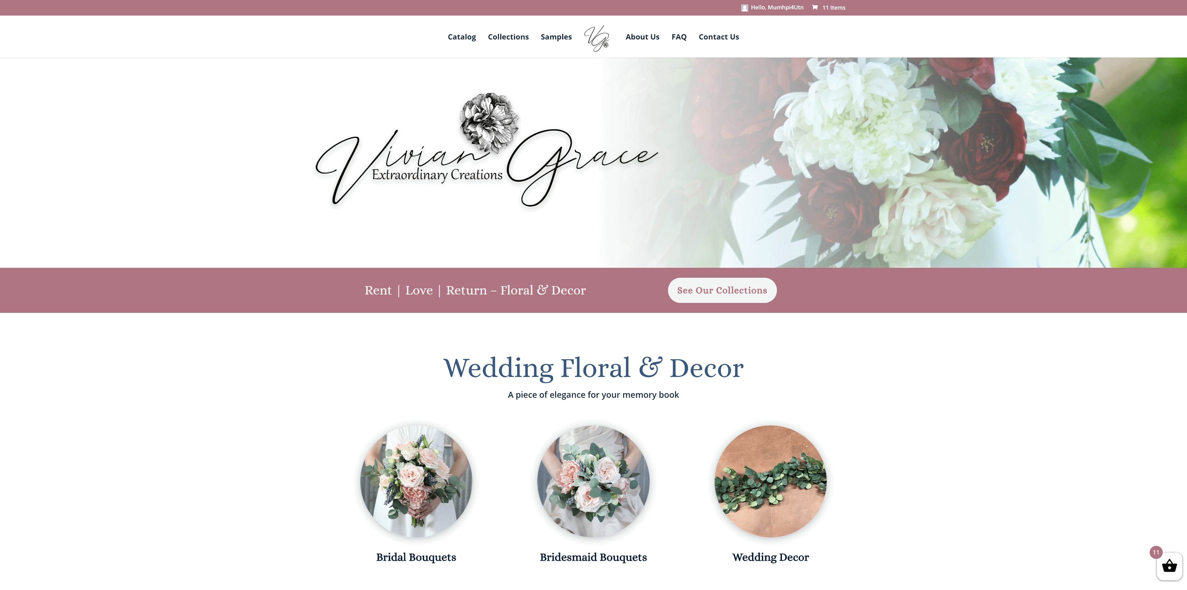 vivian grace website design screenshot